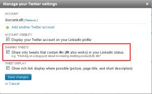 Tviter podešavanja na Linkedinu