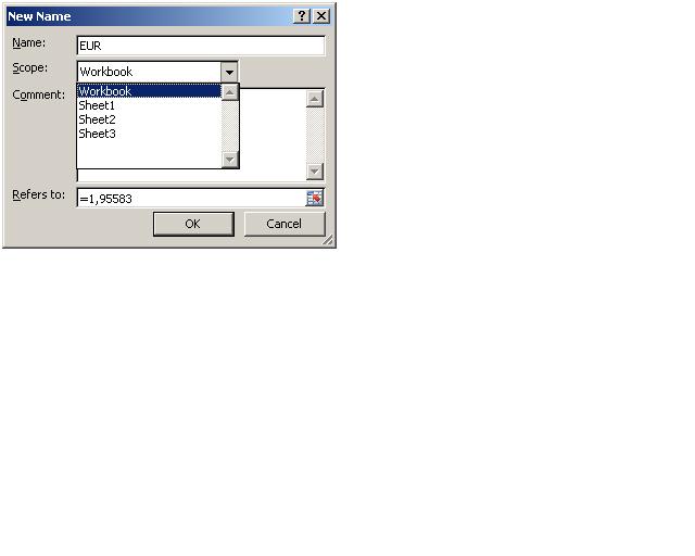 Slika 9 Kreiranje imenovanog raspona u memoriji fajla