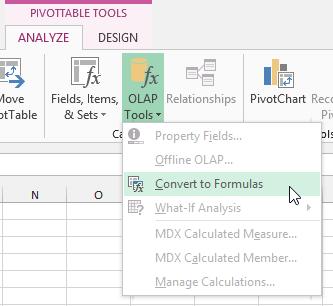 konvertovati PowerPivot u formule