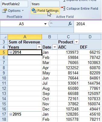 grupisanje dnevnih datuma po mesecu u pivot tabeli 2